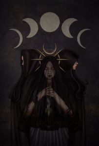 triple headed form of the Goddess Hecate.  The Goddess is black veiled, with a moon symbol above her, and one of the Goddesses holds an athame